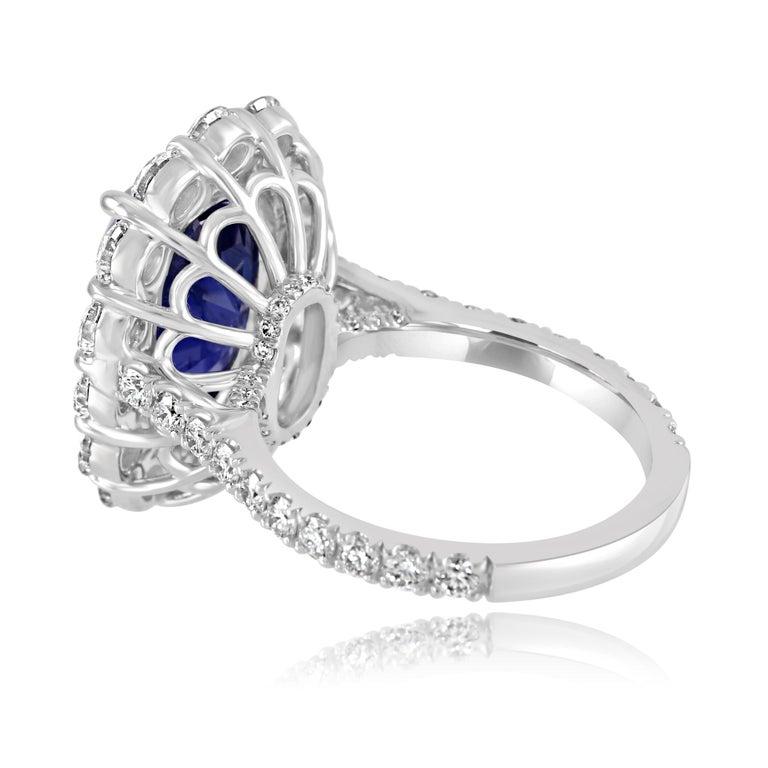 GIA Certified 7.85 Carat No Heat Burma Sapphire Diamond Halo White Gold Ring For Sale 2