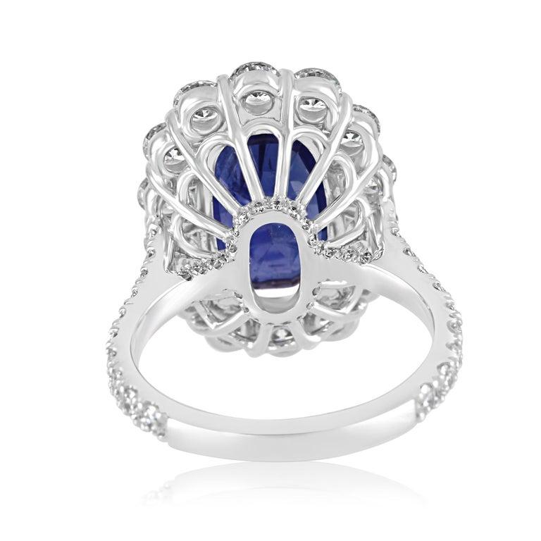 GIA Certified 7.85 Carat No Heat Burma Sapphire Diamond Halo White Gold Ring For Sale 3