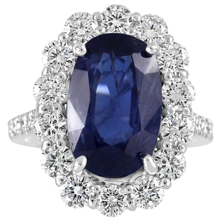 GIA Certified 7.85 Carat No Heat Burma Sapphire Diamond Halo White Gold Ring For Sale