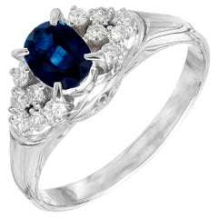 GIA Certified .79 Carat Blue Sapphire Diamond Platinum Engagement Ring