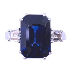 GIA Certified 7.92 Carat No Heat Octagonal Cut Burma Sapphire 70's Diamond Ring