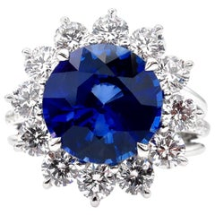 GIA Certified 5.80 Carat Ceylon Royal Blue Sapphire Round Cut Diamond Ring