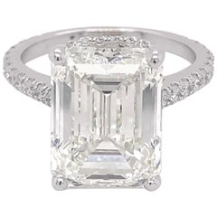 GIA Certified 8 Carat Emerald Cut Diamond 18k White Gold Engagement Ring