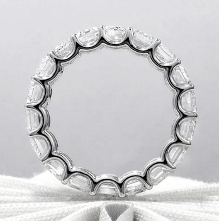 Modern GIA Certified 8 Carat Emerald Cut Eternity Band Ring For Sale