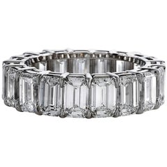 GIA Certified 8 Carat Emerald Cut Eternity Band Ring