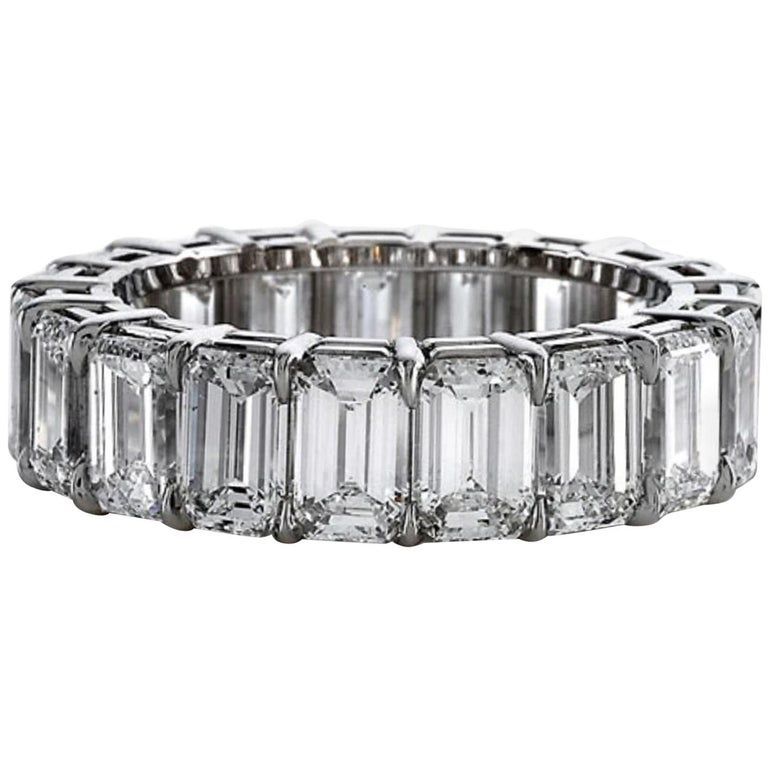 GIA Certified 8 Carat Emerald Cut Eternity Band Ring For Sale