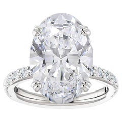 GIA Certified 8 Carat Oval Cut Diamond Ring F Color Si2 Clarity Triple Excellent
