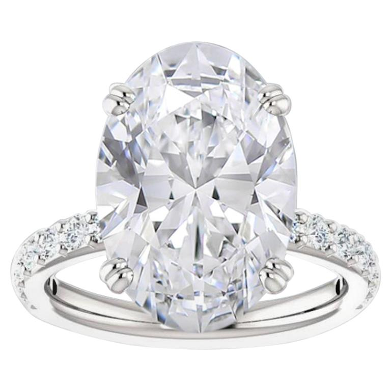 GIA Certified 8 Carat Oval Cut Diamond Ring F Color Si2 Clarity Triple Excellent For Sale