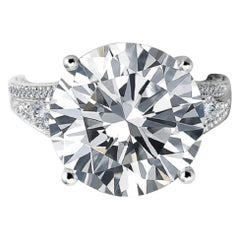 GIA Certified 8 Carat Round Brilliant Cut Diamond Ring 100% Eye Clean