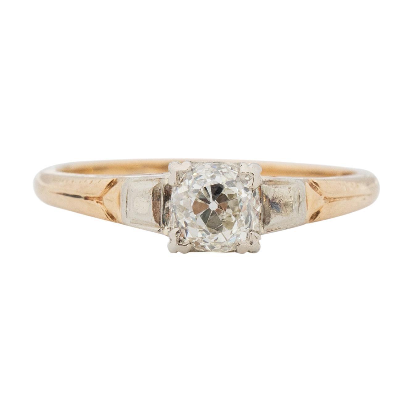 GIA Certified .80 Carat Edwardian Diamond 14 Karat Yellow Gold Engagement Ring