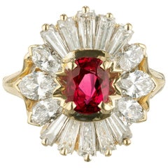 GIA Certified .80 Carat Ruby Diamond Yellow Gold Cluster Cocktail Ring
