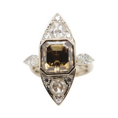 GIA Certified 8.00 Carat Fancy Deep Brown-Yellow Diamond Ring in 18 Karat Gold