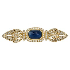 GIA Certified 8.01 Carat Cabochon Sapphire and Diamond Brooch in 18K Yellow Gold