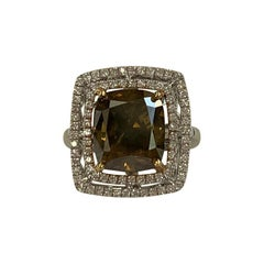 GIA Certified 8.01 Carat Fancy Dark Yellow Cushion Cut Diamond Ring