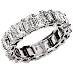GIA Certified 8.02 Carat Emerald Cut Diamond Platinum Eternity Band Ring