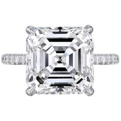 GIA Certified 8.75 Carat Square Emerald Cut Diamond VVS2 Clarity H Color