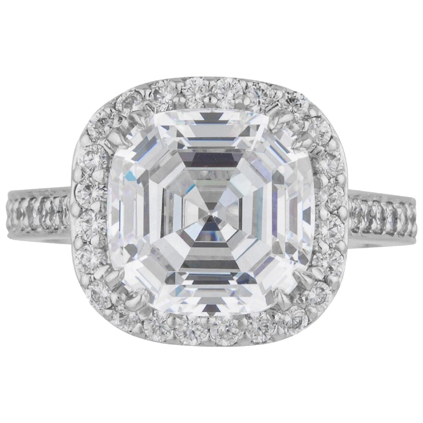 GIA Certified 6 Carat Asscher Cut Diamond Ring VVS