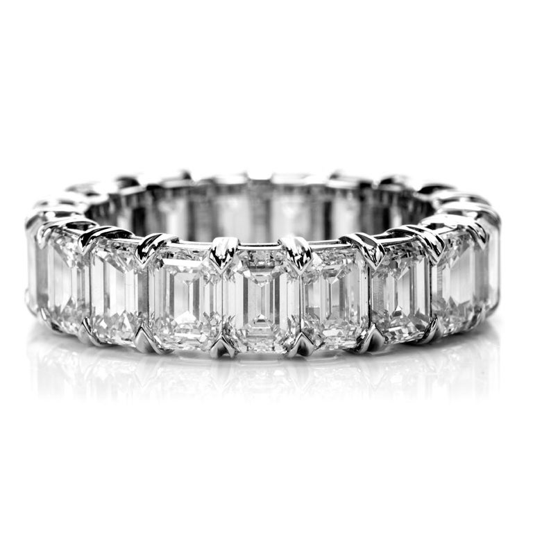 A Refined Elegance is a statement describing this incredible  GIA Certified Emerald Cut Eternity Band RIng.  19 Vibrant, White Emerald Cut Diamonds wrap around this band from   end to end.  ALl of G-I color and VVS1-VS1, the Diamonds  radiate of