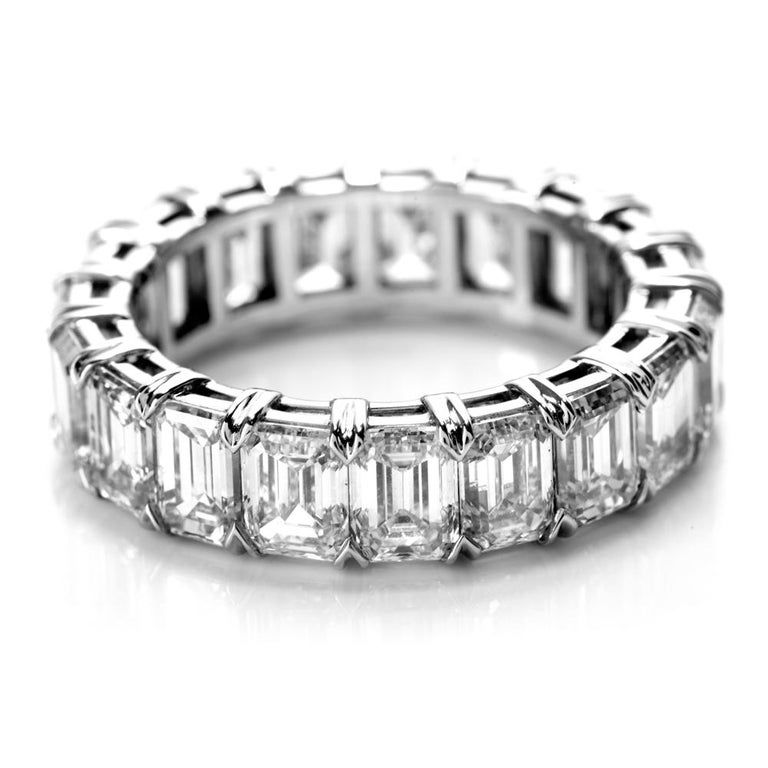 GIA Certified 8.02 Carat Emerald Cut Diamond Platinum Eternity Band Ring In New Condition For Sale In Miami, FL