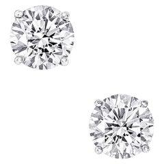 GIA Certified 8.06 Carat Round Cut Diamond Stud Earrings