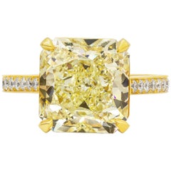 GIA Certified 8.07 Carat Radiant Cut Yellow Diamond Engagement Ring