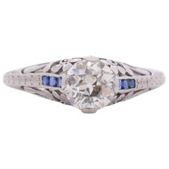 GIA Certified .81 Carat Art Deco Diamond Platinum Engagement Ring