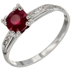 GIA Certified .81 Carat Ruby Diamond Platinum Art Deco Engagement Ring