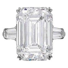 GIA Certified 8.10 Carat Emerald Cut Tapered Baguettes Diamond Platinum Ring H
