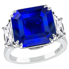 GIA Certified 8.10 Carat Sapphire Diamond Engagement Ring