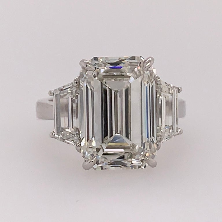 GIA Certified 8.11 Carat Natural Emerald Cut Diamond H VS2 PLT Engagement Ring For Sale 5