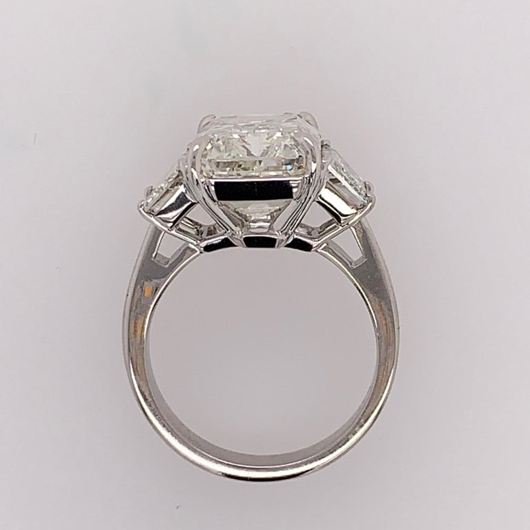 GIA Certified 8.11 Carat Natural Emerald Cut Diamond H VS2 PLT Engagement Ring For Sale 8