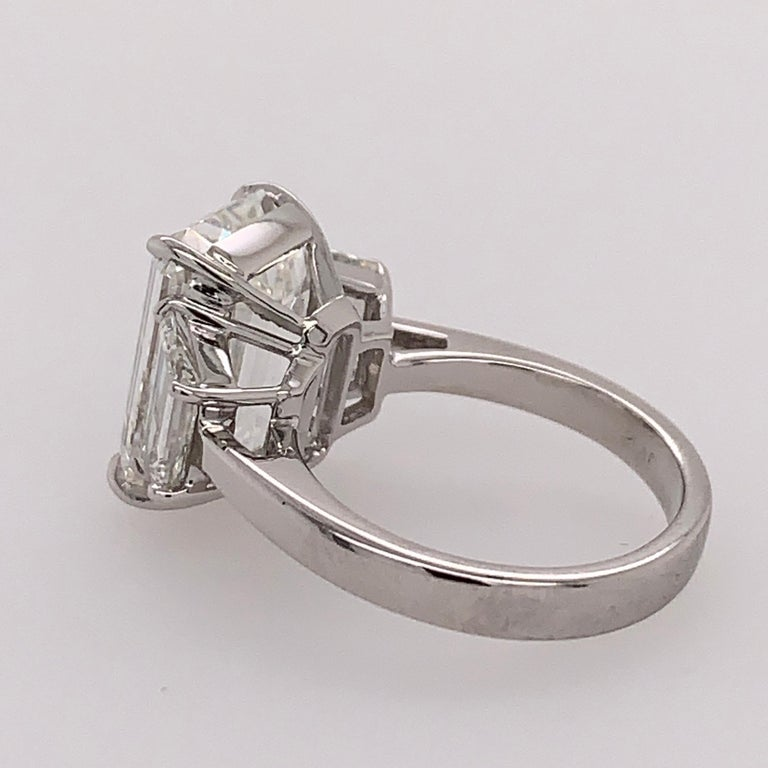 GIA Certified 8.11 Carat Natural Emerald Cut Diamond H VS2 PLT Engagement Ring For Sale 2