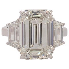 GIA Certified 8.11 Carat Natural Emerald Cut Diamond H VS2 PLT Engagement Ring