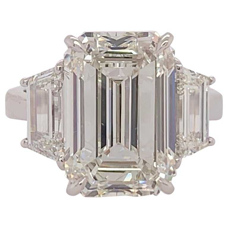 GIA Certified 8.11 Carat Natural Emerald Cut Diamond H VS2 PLT Engagement Ring For Sale