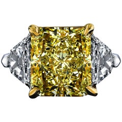 GIA Certified 8.11 Carat Radiant Fancy Yellow VVS2 Diamond Ring