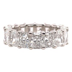 GIA Certified 8.12 Carat Platinum Radiant D-F VS+ Natural Diamond Eternity Band