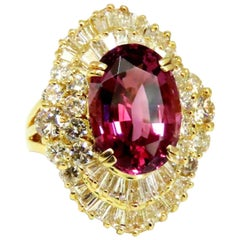 GIA Certified 8.12ct Natural No Heat Spinel 6.00ct Diamonds Ballerina Ring 18Kt