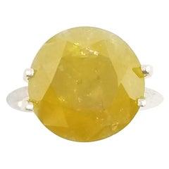 GIA Certified 8.17 Carat Natural Fancy Deep Yellow Round Diamond Ring
