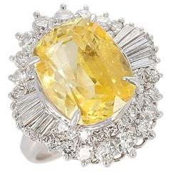 GIA Certified 8.18 Carat Oval No Heat Ceylon Yellow Sapphire and Diamond Ring