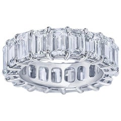 GIA Certified 8.23 Carat Emerald Cut Diamond Eternity Band