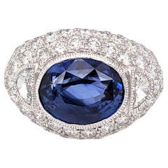 GIA Certified 8.23 Carat Sapphire Diamond Domed Cocktail Ring
