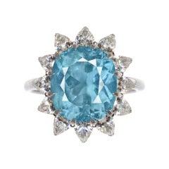 GIA Certified 8.25 Paraiba Tourmaline Pear Cut Diamond Cocktail Ring