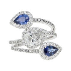 GIA Certified .83 Carat Pear Cut Diamond and Sapphire Triple Bypass Ring