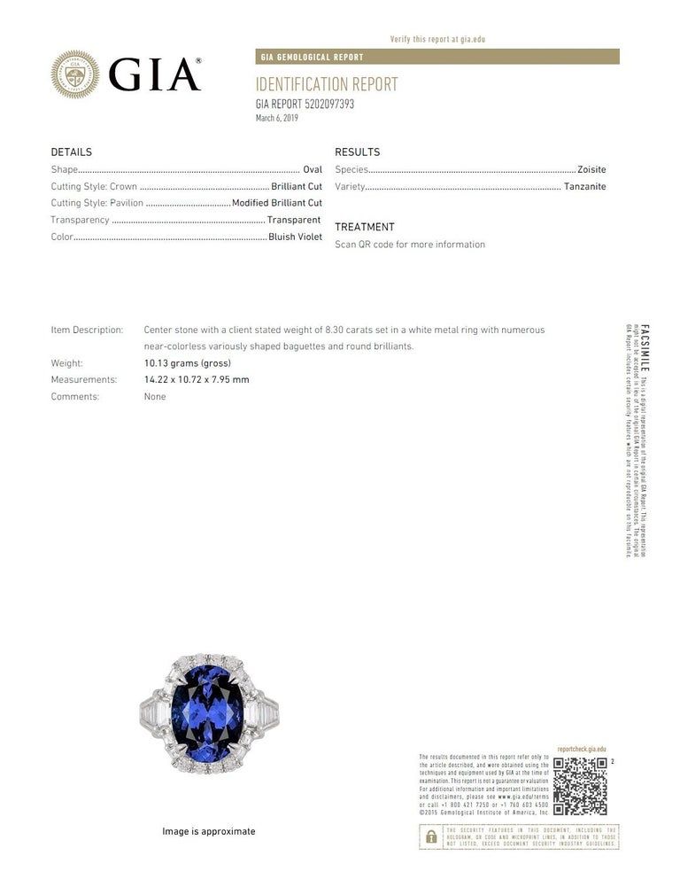GIA Certified 8.30 Carat Oval Cut Bluish Violet Tanzanite and Diamond Halo Ring For Sale 1