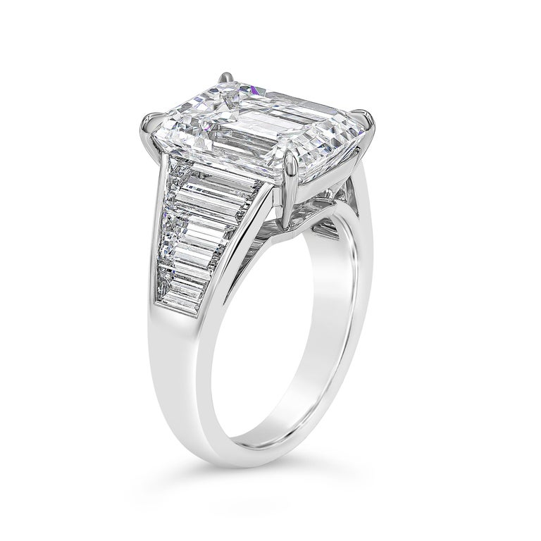 Contemporary Roman Malakov, GIA Certified 8.35 Carat Emerald Cut Diamond Engagement Ring For Sale