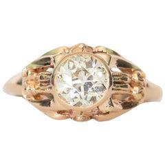 GIA Certified .85 Carat Diamond Yellow Gold Engagement Ring