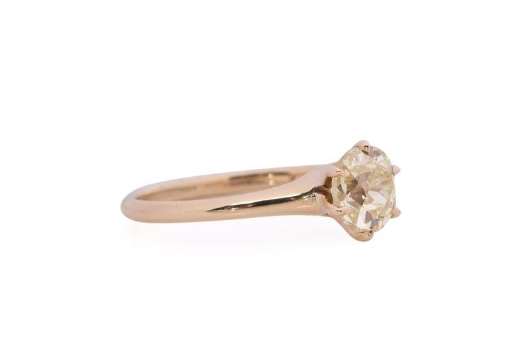 Item Details:  Ring Size: 6 Metal Type: 14karat Yellow Gold [Hallmarked, and Tested] Weight: 2.2 grams  Center Diamond Details: GIA REPORT #: 2203841479 Weight: .85 carat Cut: Antique Cushion Color: Light Yellow (Y-Z) Clarity: SI1 Measurements: