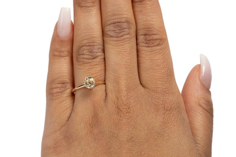 Women's GIA Certified .85 Carat Edwardian Diamond 14 Karat Yellow Gold Engagement Ring For Sale