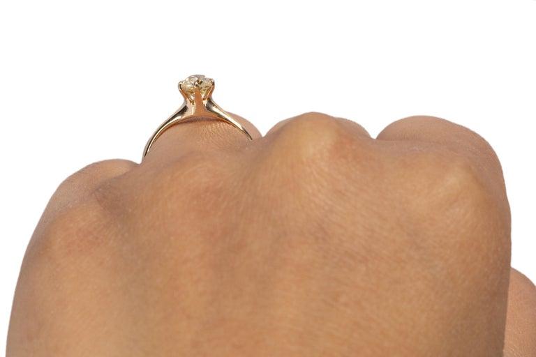 GIA Certified .85 Carat Edwardian Diamond 14 Karat Yellow Gold Engagement Ring For Sale 1