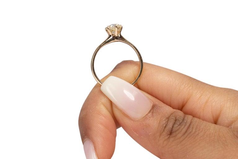 GIA Certified .85 Carat Edwardian Diamond 14 Karat Yellow Gold Engagement Ring For Sale 2